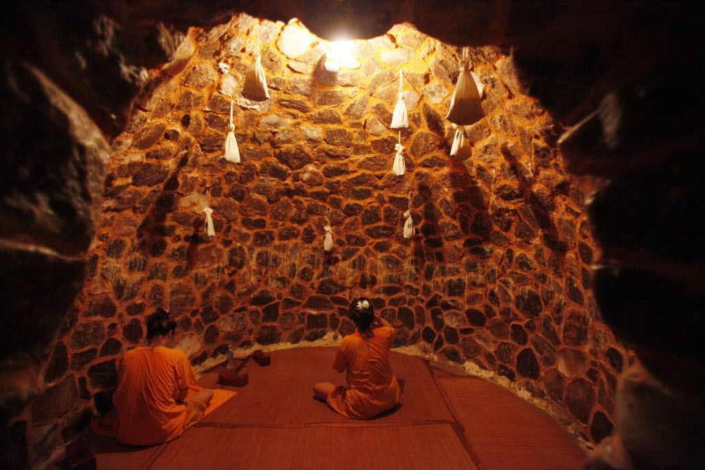 Two unidentified women relax inside the Salt Room dry sauna inside King Spa, on Wednesday, Oct. 06, 2015 in Dallas. Ben Torres/Special Contributor