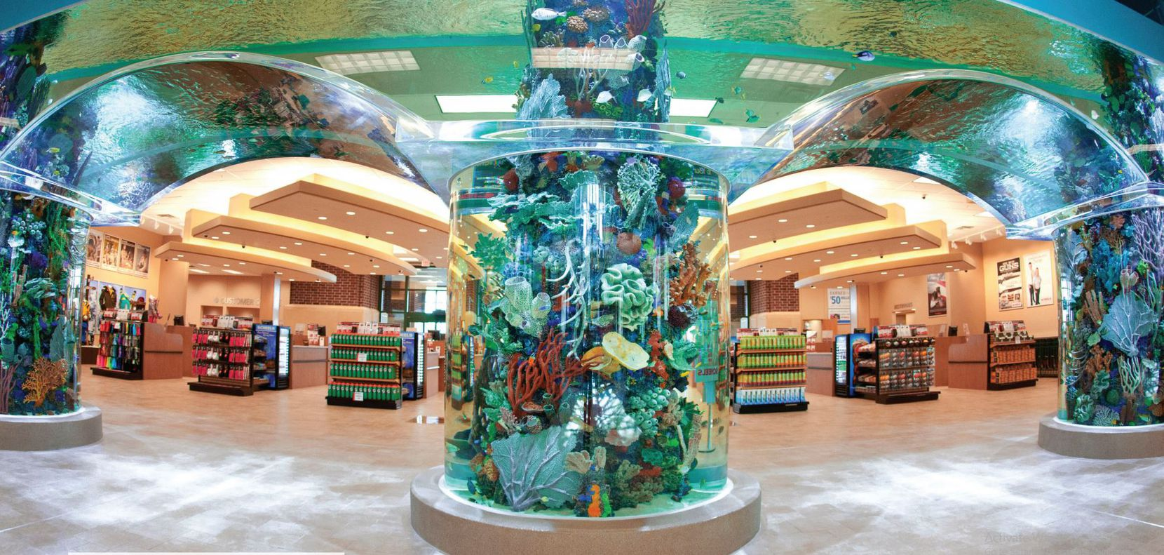 The Scheels store in The Colony's Grandscape development will house a 16,000-gallon, saltwater aquarium and a 65-foot Ferris wheel.