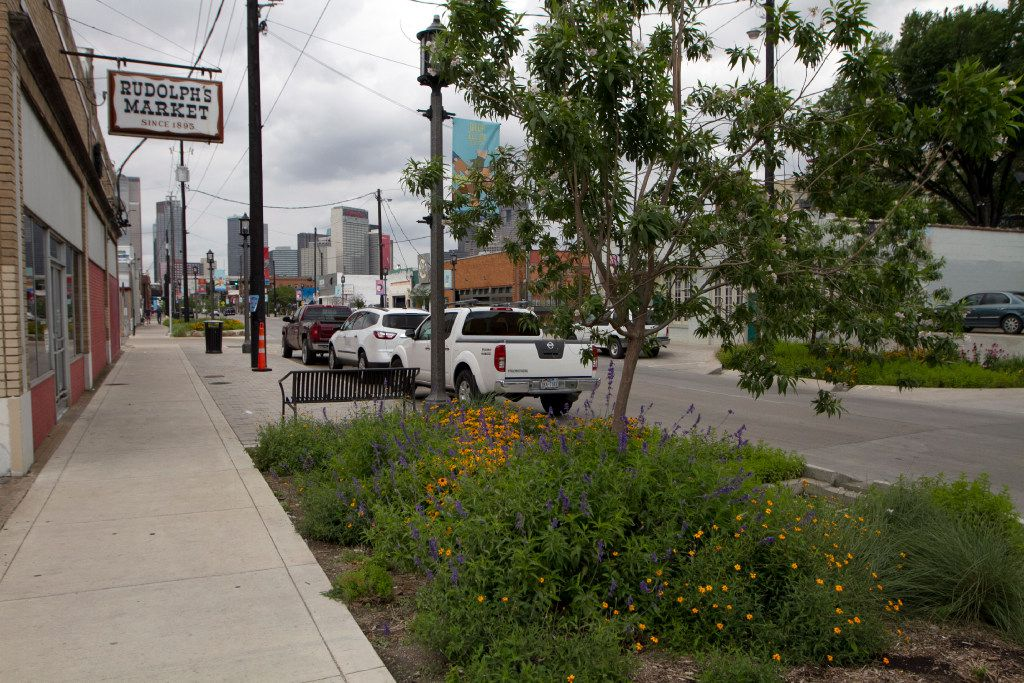 """Deep Ellum looking west on Tuesday, with the """"rain garden"""" in full bloom"""