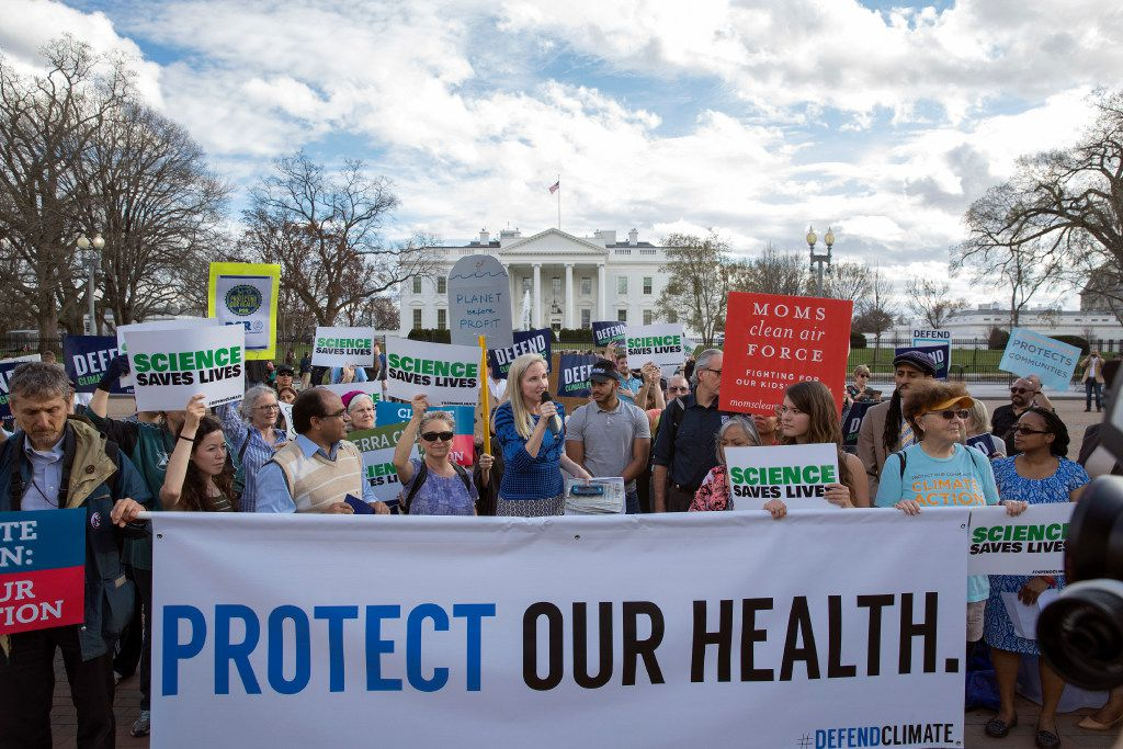 In March, demonstrators gathered in front of the White House to voice their opposition after President Donald Trump signed an executive order that rolled back many climate-change policies. In April, scientists and science advocates are expected to fill the streets for the March for Science, a rally in support of scientific research, which many feel has increasingly come under attack during the Trump administration. (Stephen Crowley/The New York Times)