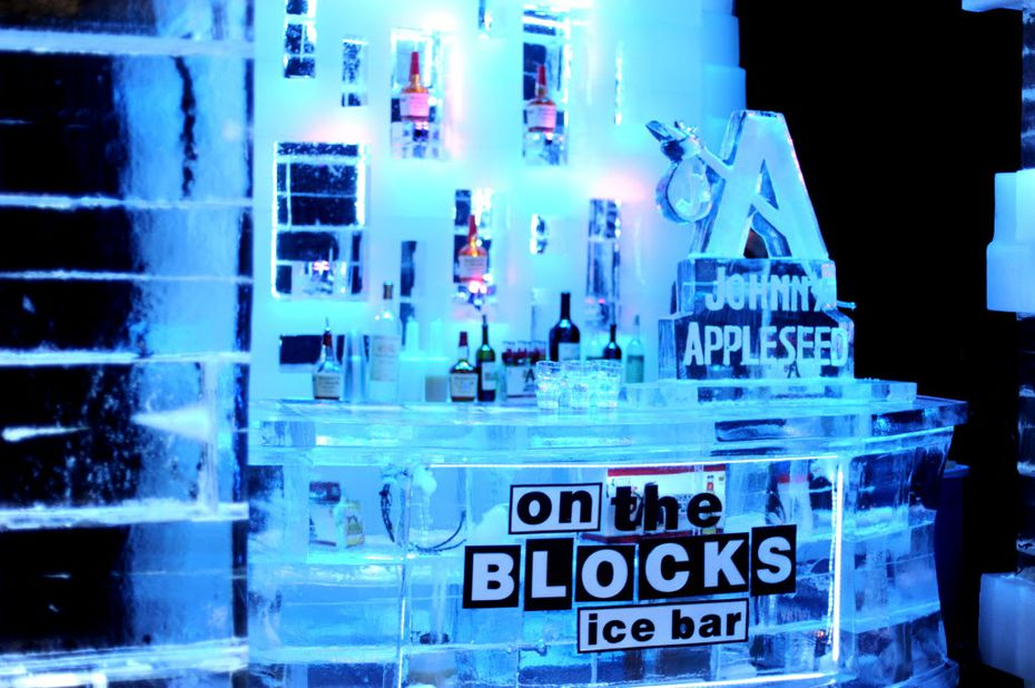 The ice bar at ICE! keeps 21 and over guests nice and toasty while they explore the holiday ice exhibit.