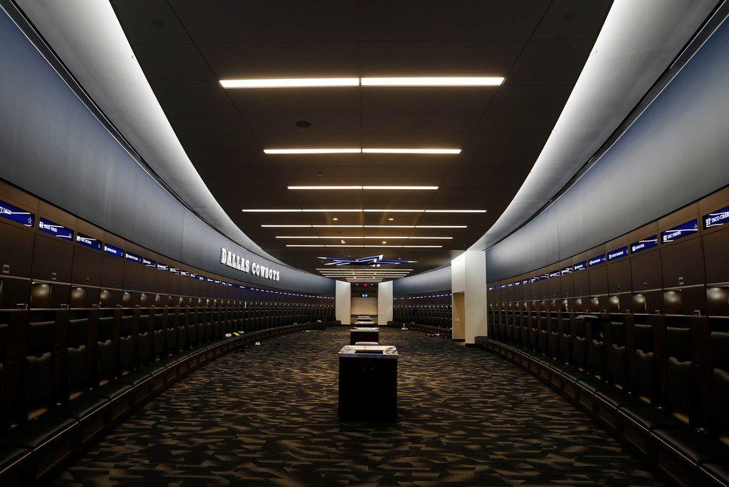 The Dallas Cowboys locker room inside the Dallas Cowboys headquarters at The Star in Frisco