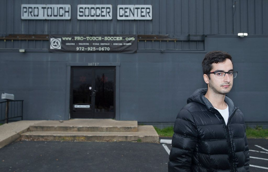 Vittor Strausz Jardim of Brazil poses for a portrait outside Pro Touch Soccer Center on Northwest Highway in Dallas on Jan. 10, 2019. After Jardim was assaulted at the soccer center, he called Dallas police three times. When they didn't show, he drove himself to the police station with a broken jaw.