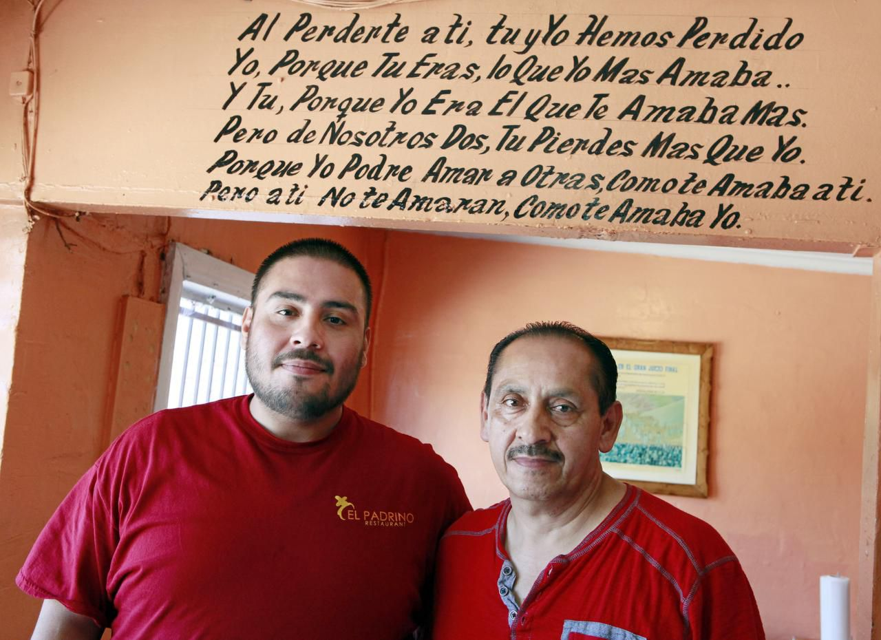 """Juan Contreras Jr.,  who co-owns the El Padrino restaurant with his father, Juan Contreras Sr., says his customers don't really care that he's gay. """"That fact doesn't change our relationship,"""" he says."""