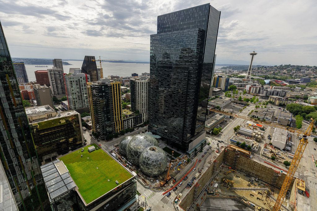Amazon's campus in Seattle, Wash., photographed from the roof of Amazon's Port 99 building. Real-estate developers from Phoenix to Washington, D.C., are suggesting former shopping malls as prime locations for Amazon's next headquarters. (Jordan Stead/Amazon)