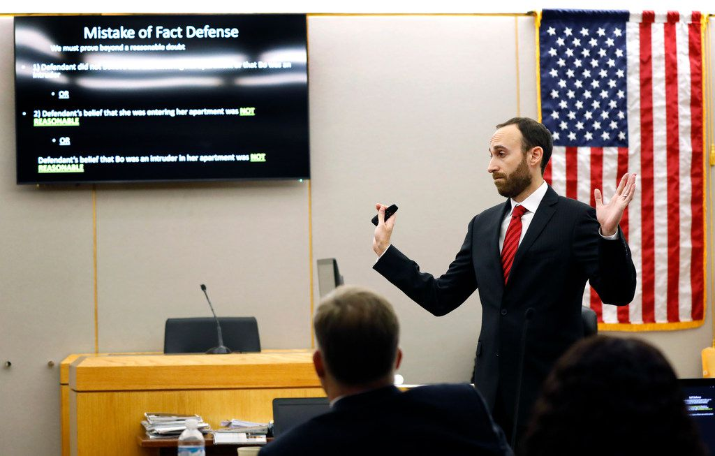 Assistant District Attorney Jason Fine presents his closing arguments in fired Dallas police Officer Amber Guyger's murder trial.