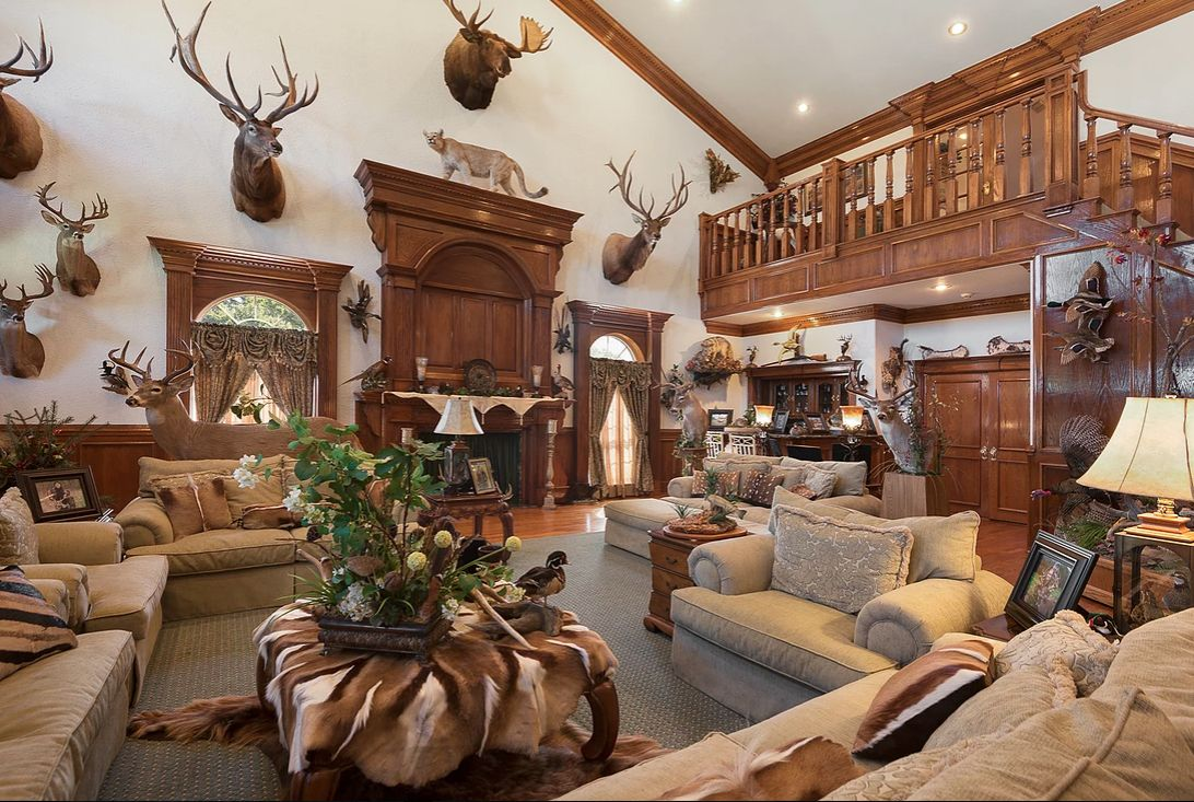 """""""The home's centerpiece is a grand trophy room boasting 32-foot ceilings,"""" according to real estate broker Icon Global Group of Dallas."""