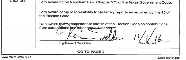"""Kevin Felder's signature on Form CTA, """"Appointment of A Campaign Treasurer by A Candidate,""""  filed with the Dallas City Secretary in Nov. 2016."""