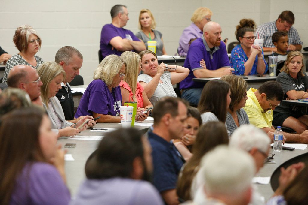 A near-packed audience was in attendance at a school board meeting which contained speakers in favor and against the hiring of Art Briles. The meeting of the Mount Vernon ISD Board was the first since naming Art Briles as its head football coach. The Meeting was held in the High School Lecture Hall in Mount Vernon on June, 17, 2019.  (Steve Hamm/ Special Contributor)