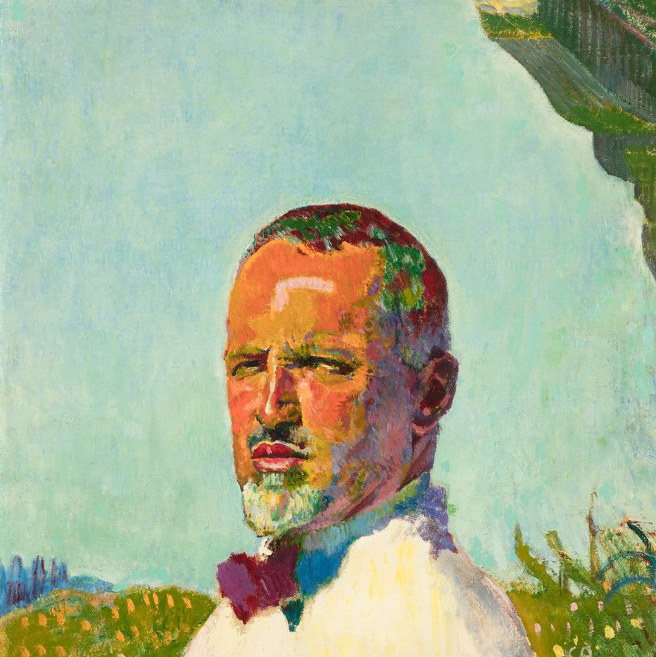 Cuno  Amiet,  Self  Portrait,  1921,  oil  on  canvas,  30  5/16  x  28  1/4.  (The Barrett Collection)