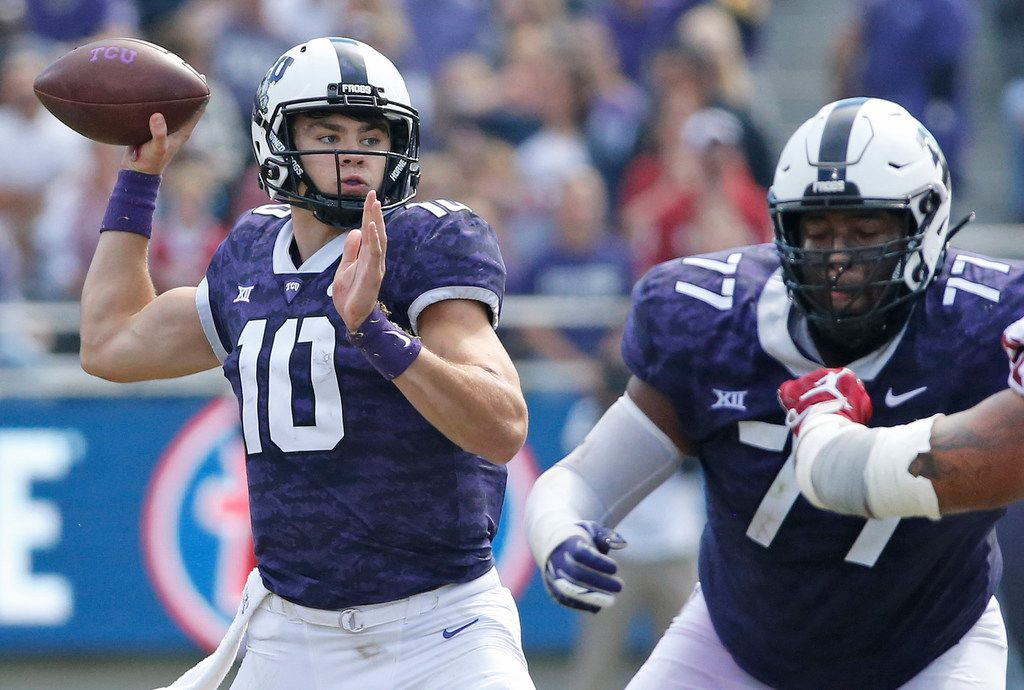 TCU Horned Frogs quarterback Michael Collins (10) throws a pass during the Oklahoma Sooners vs. the TCU Horned Frogs NCAA football game at Amon G. Carter Stadium in Fort Worth, Texas on Saturday, October 20, 2018. (Louis DeLuca/The Dallas Morning News)