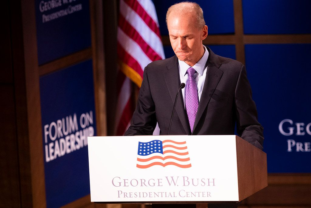 """The last few weeks """"have been the most heart-wrenching of my career,"""" Boeing chief executive Dennis Muilenburg said Thursday at the second Bush Institute Leadership Forum in Dallas."""