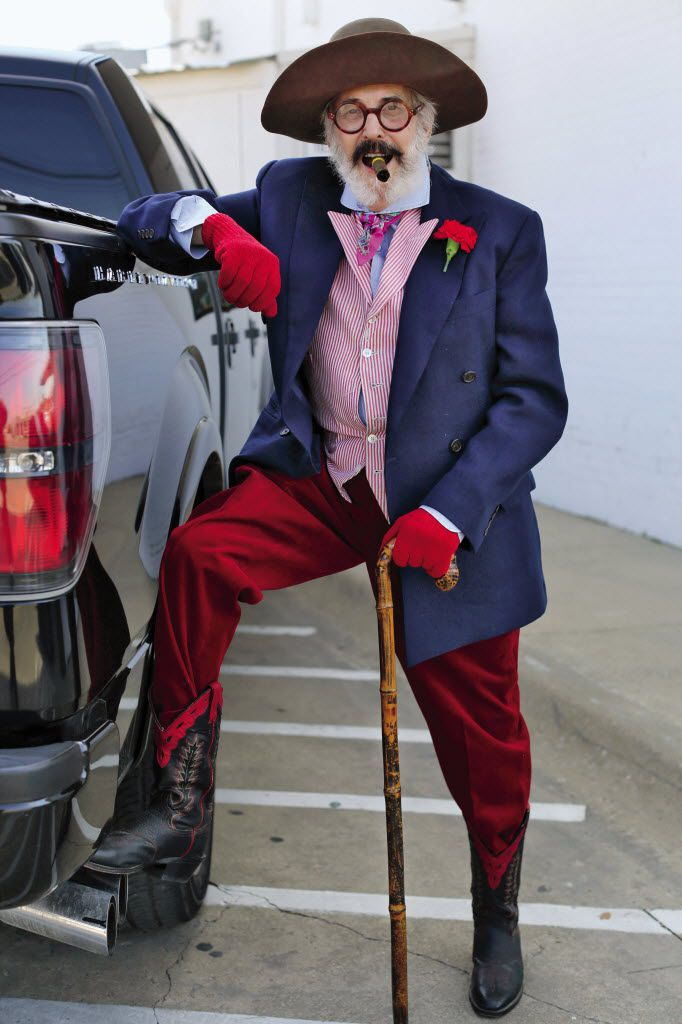 """Derrill Osborn outside of White Elephant Antiques in Dallas posing for the book """"Advanced Style"""""""