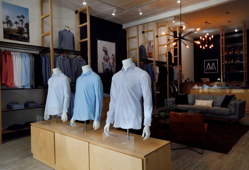 Mizzen+Main shirts are on display at their flagship store in the West Village shopping center in Dallas, Wednesday, April 10, 2019. The store sells performance fabric menswear.