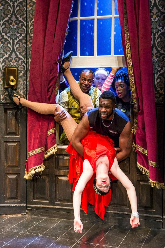 Clockwise from top left: Clifton Duncan, Jonathan Fielding, Ashley Bryant, Akron Watson and Amelia McClain in The Play That Goes Wrong, co-written by Mischief Theatre company members Henry Lewis, Jonathan Sayer, and Henry Shields, directed by Mark Bell. Shown on Broadway at The Lyceum Theatre in New York, N.Y. The Play That Goes Wrong is part of the AT&T Performing Arts Center's six-show 2018-19 Broadway Series.