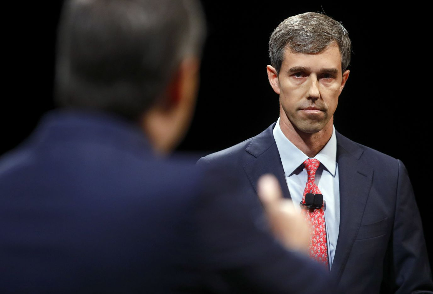 Rep. Beto O'Rourke (D-TX) looks and listens to Sen. Ted Cruz (R-TX) during a debate at McFarlin Auditorium at SMU in Dallas, on  Friday, September 21, 2018.