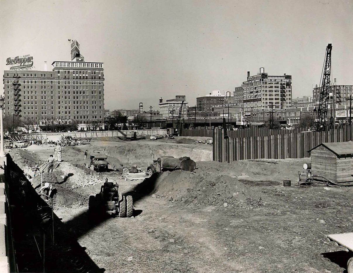 The Dallas Morning News, 508 Young Street building construction site. on Dec. 4, 1946. In back left is the Hotel Jefferson.