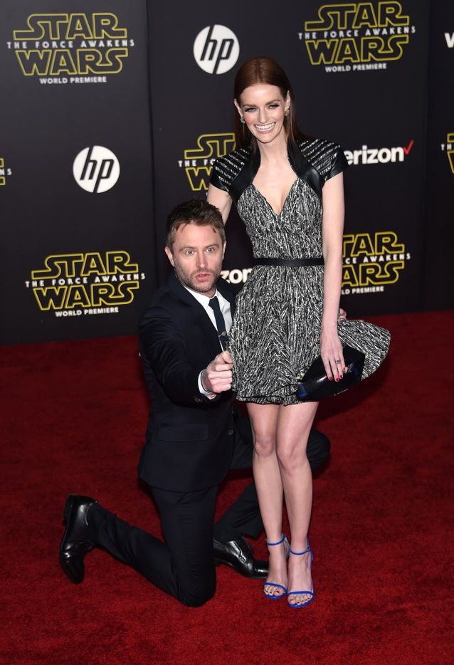 """HOLLYWOOD, CA - DECEMBER 14:  TV personality Chris Hardwick (L) and model Lydia Hearst attend Premiere of Walt Disney Pictures and Lucasfilm's """"Star Wars: The Force Awakens"""" on December 14, 2015 in Hollywood, California."""