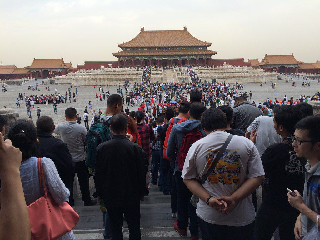 A crowd of tourists visits the Forbidden City in Beijing, China, in September 2017.