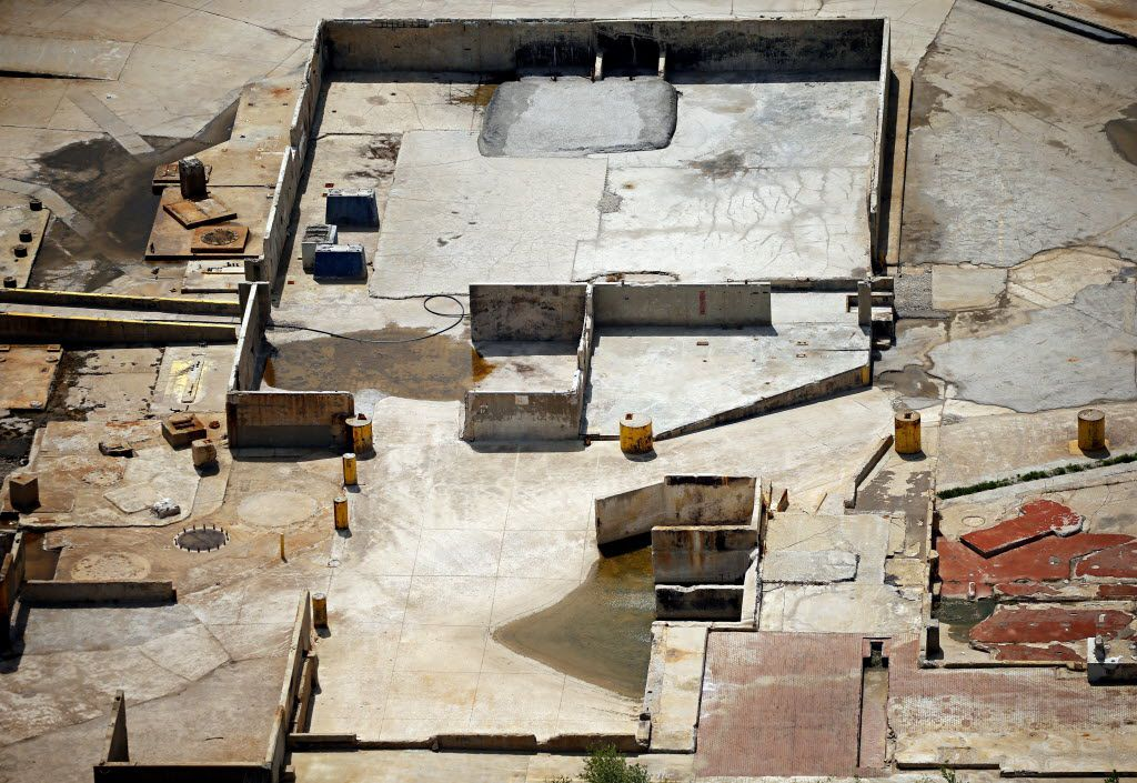 An aerial photograph shows the building foundations that remained at the former Exide Technologies plant as of April 3, 2015, in Frisco.