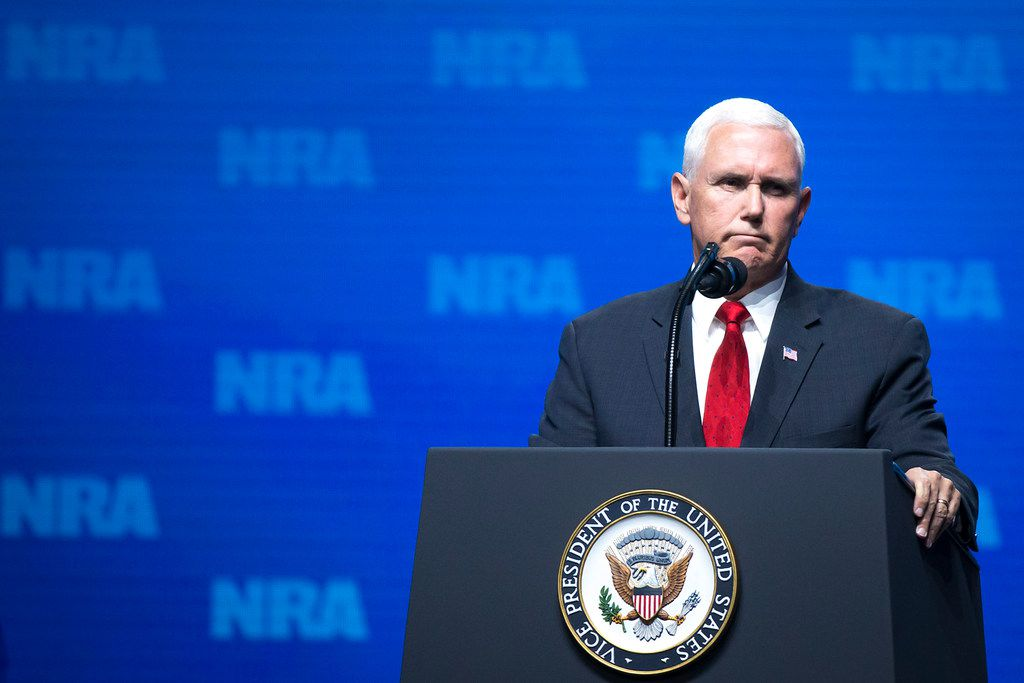 Vice President Mike Pence addresses the NRA-ILA Leadership Forum at the Kay Bailey Hutchison Convention Center on Friday, May 4, 2018, in Dallas.