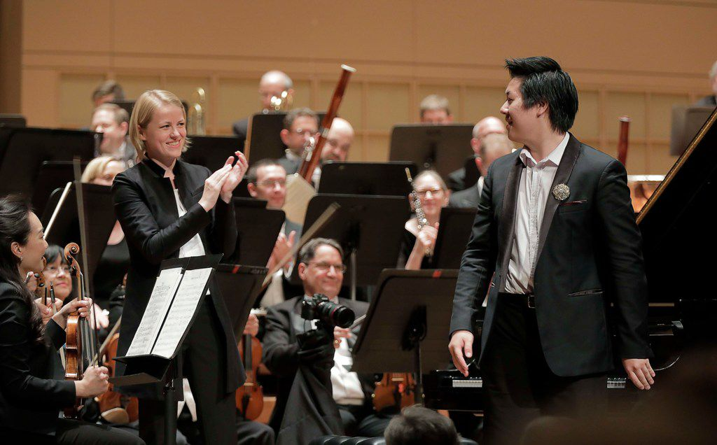 Shuan Hern Lee from Australia performs  his Final Round concerto with conductor Ruth Reinhardt and the Dallas Symphony Orchestra for the finals of the Cliburn International Junior Piano Competition and Festival at the Morton H. Meyerson Symphony Center in Dallas,
