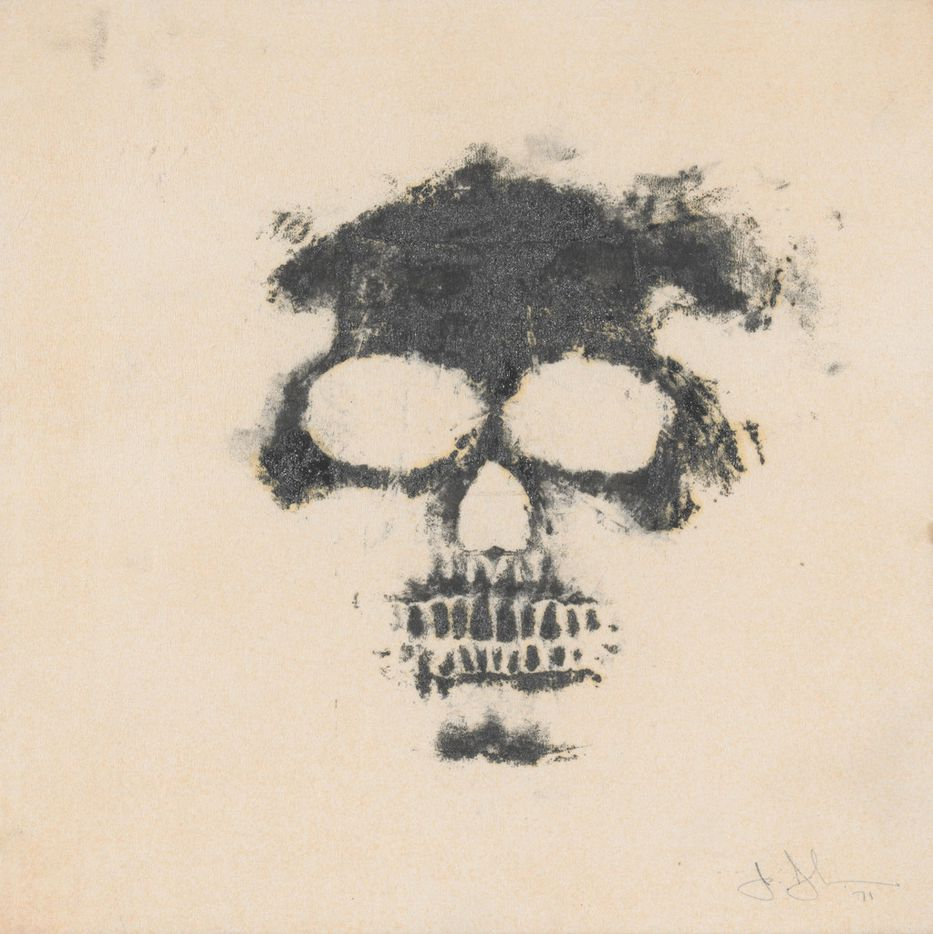Skull, 1971 by Jasper Johns.  Printing ink on paper towel mounted on board, Collection of the artist.   2018 Jasper Johns