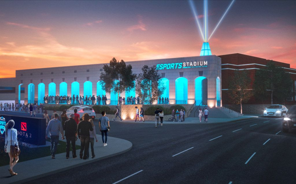 A mock-up of the City of Arlington's proposed esports stadium, a 100,000-square-foot space in Arlington's entertainment district.