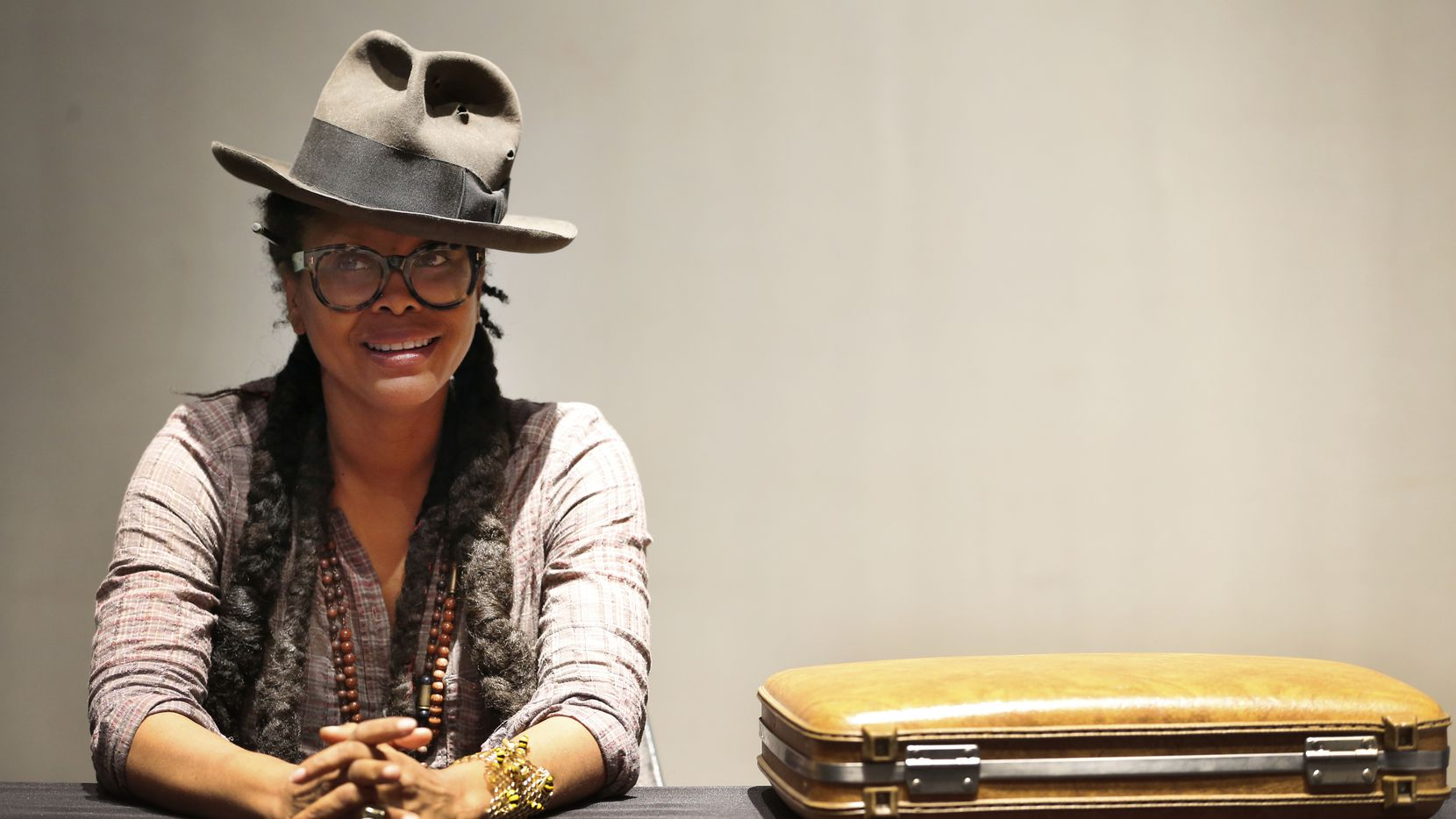 Erykah Badu speaks about her upcoming show at The Black Academy of Arts and Letters in Dallas. (Rose Baca/The Dallas Morning News)