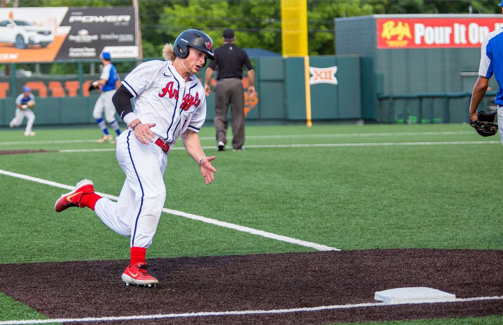 Argyle's senior Dillon Carter (1) makes a run for third base during their game with La Vernia at their 4A UIL baseball state semifinals game at UFCU Disch-Falk Field on June 5, 2019 in Austin, Texas. (Thao Nguyen/Special Contributor)