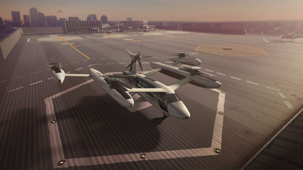 "Uber introduced it's electric powered ""flying taxi"" vertical take-off and landing concept aircraft Tuesday at the Uber Elevate Summit in Los Angeles."