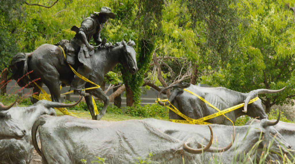 A rider and one of the bronze steers created by Glen Rose artist Robert Summers at Pioneer Plaza in downtown Dallas is wrapped with caution tape. The sculptures are representing a cattle drive.