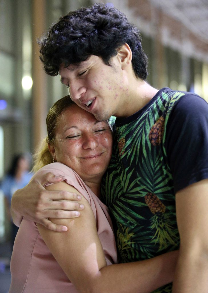 Francisco Galicia embraces his mother, Sanjuana Galicia, on Wednesday in McAllen. Galicia, 18, who was born in the U.S., was released on Tuesday from federal immigration custody after wrongfully being detained for more than three weeks.