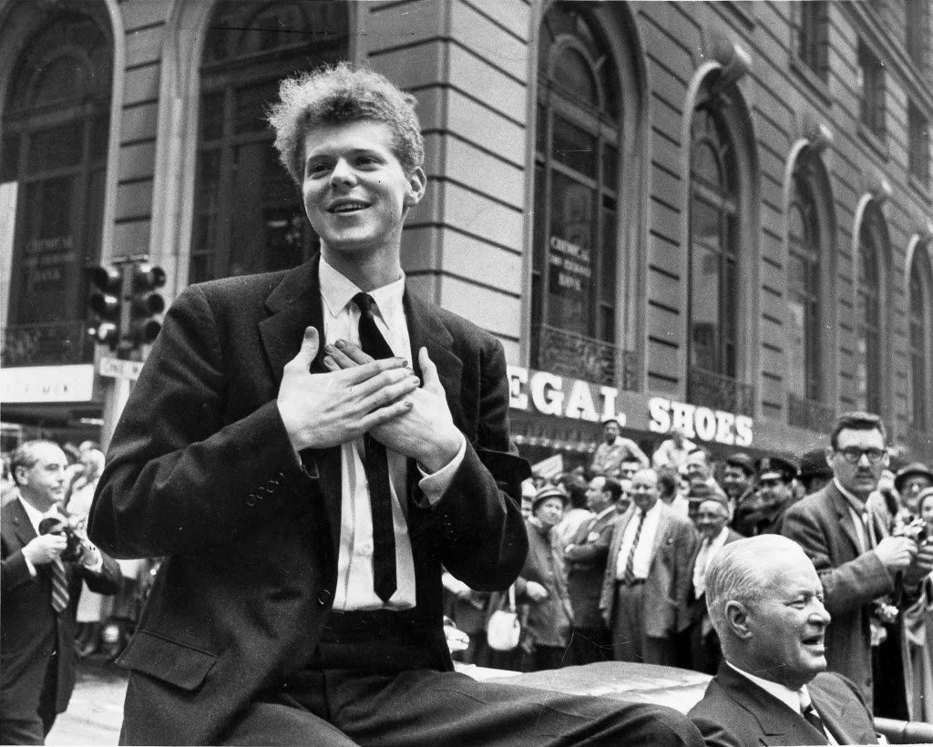 Van Cliburn during a ticker tape parade in New York after winning the Tchaikovsky Piano Competition in Moscow in 1958.  (Neal Boenzi/The New York Times)