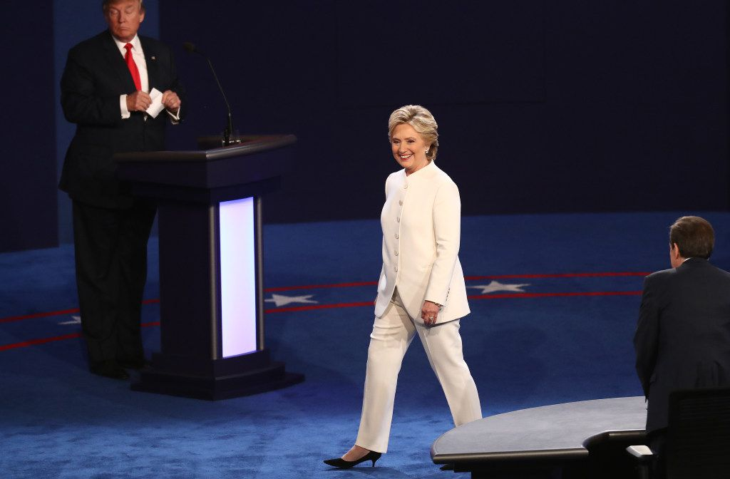 Democratic presidential nominee Hillary Clinton walks across the stage after the third U.S. presidential debate in Las Vegas.