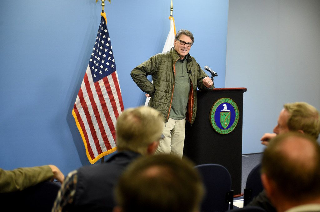 United States Energy Secretary Rick Perry speaks to a group of workers during a visit to the Savannah River Site and Savannah River National Laboratory near Jackson, S.C., Friday, Feb. 2, 2018.
