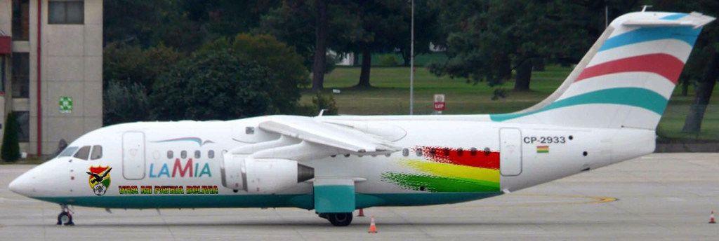 Una foto publicada por la Federación Boliviana de Fútbol muestra al avión BAE 146 Avro RJ85 LaMia estacionado en el aeropuerto de Viru Viru en Santa Cruz, Bolivia, el 4 de octubre 2016. (AP)