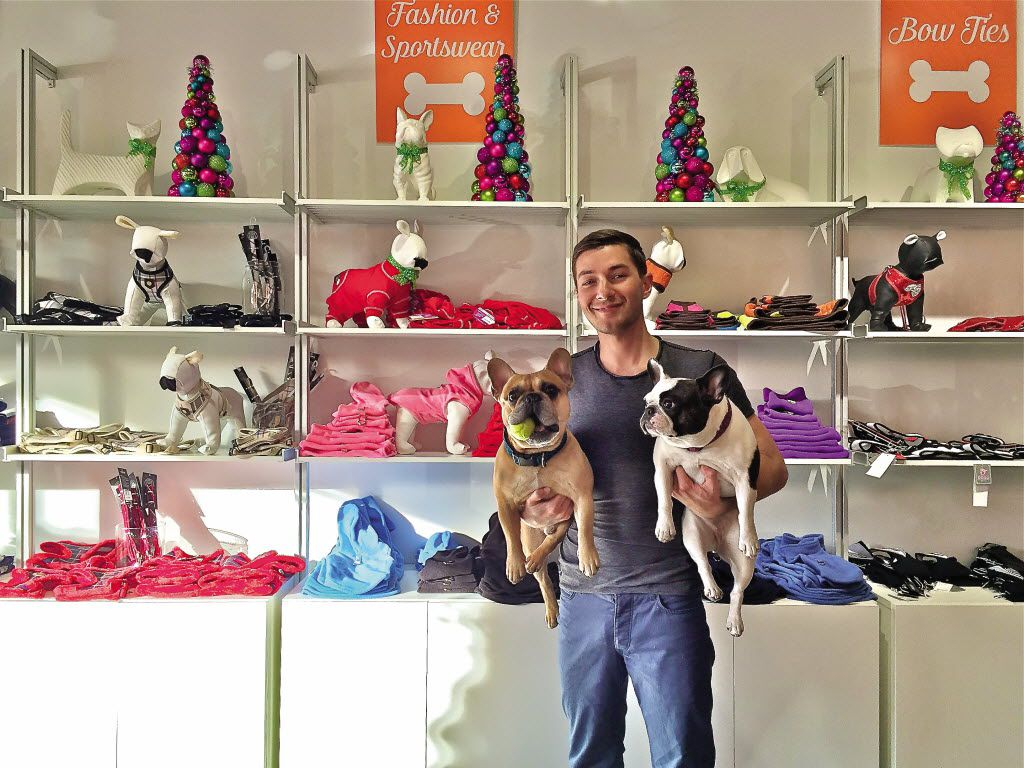 Former 'A-List Dallas' reality star Taylor Garrett now owns and operates Jack & Jill Pet Market on Oak Lawn Avenue, named after his French Bulldogs, Jack and Jill.