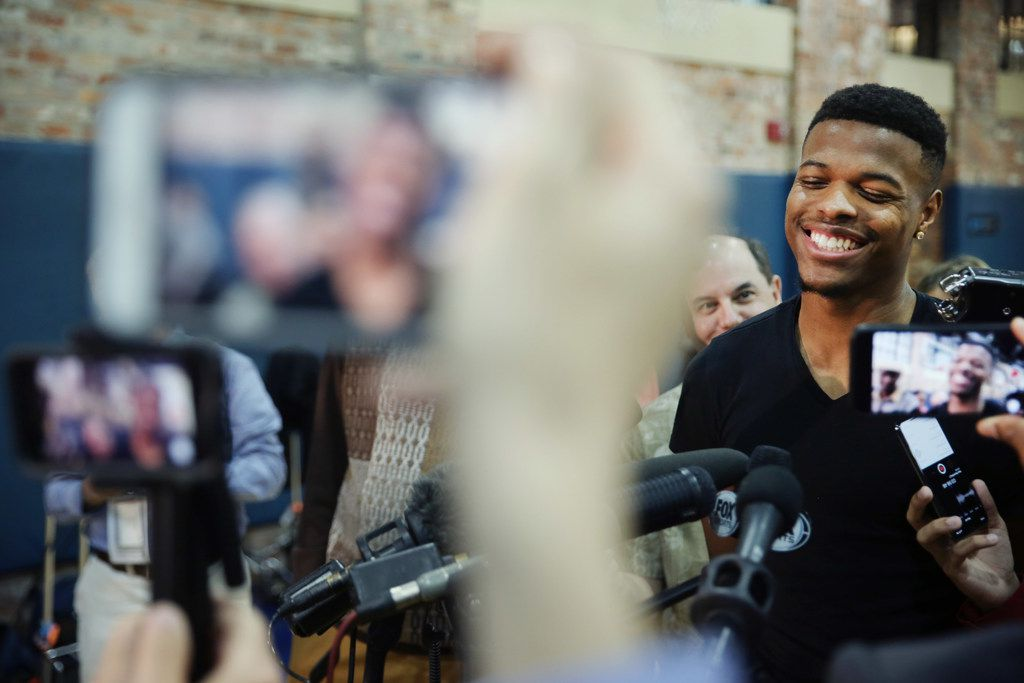 Dallas Mavericks point guard Dennis Smith Jr. while speaking to the media following the conclusion of the National Basketball Association 2017-2018 regular season at the American Airlines Center practice court in Dallas Wednesday April 11, 2018. The Mavericks finished their season 24-58. The Mavericks ranked 13th in the Western Conference. (Andy Jacobsohn/The Dallas Morning News)