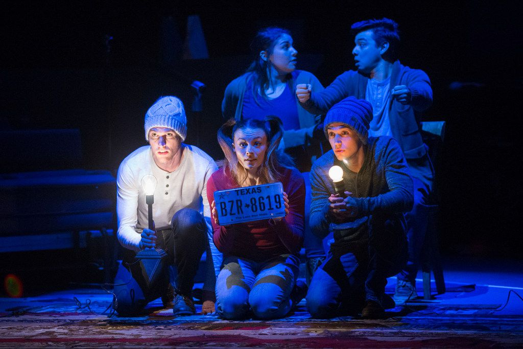 From bottom left: Garret Storms, Kelsey Milbourn, Mitchell Stephens; from top left: Tatiana Lucia Gantt and Christopher Llewyn Ramirez star in WaterTower Theatre's The Great Distance Home, at the Addison Conference and Theatre Centre in Addison.