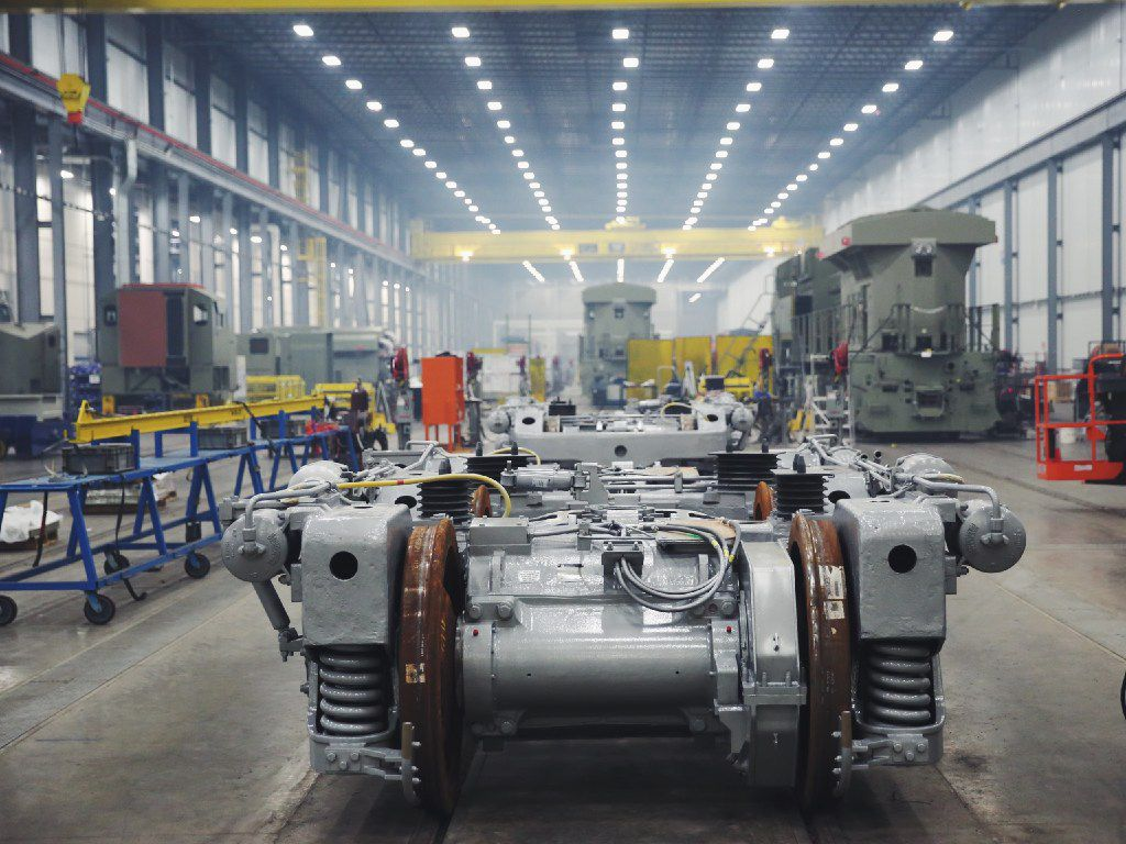 A view of the final assembly line at GE Manufacturing Solutions in Fort Worth.