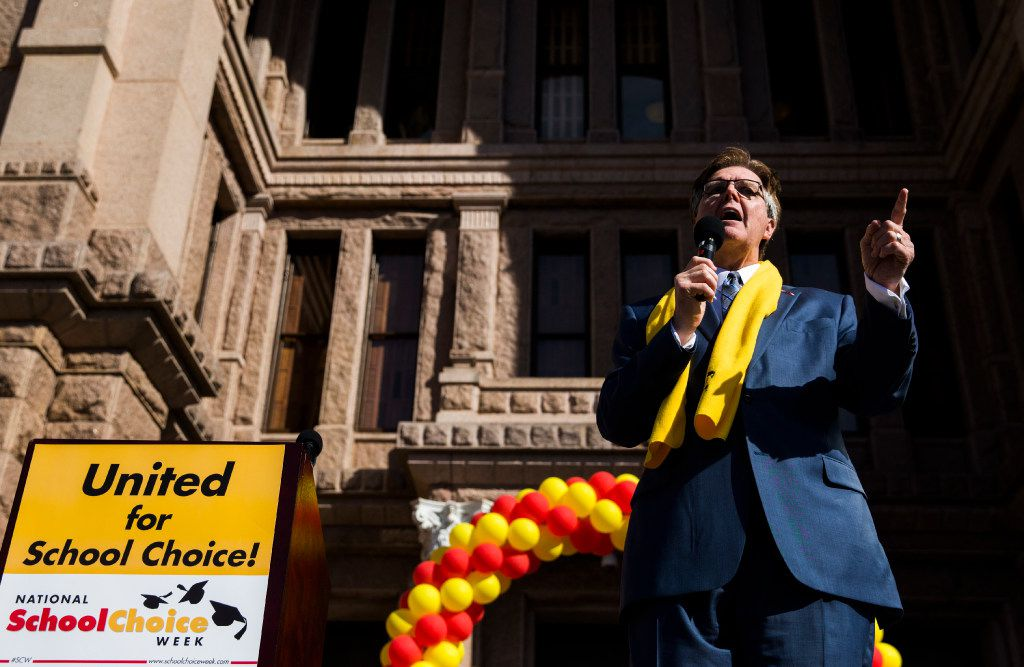 Texas Lieutenant Governor Dan Patrick speaks as demonstrators rally to show their support for expanding school choice options during National School Choice Week on Tuesday, January 24, 2017 at the Texas state capitol in Austin. (Ashley Landis/The Dallas Morning News)