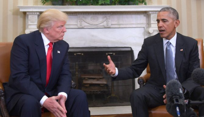 Reunión entre el presidente electo Donald Trump y el presidente Barack Obama. /GETTY IMAGES