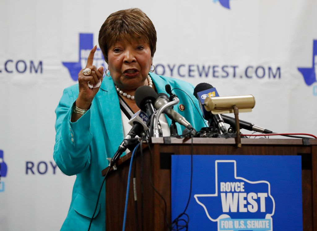 Rep. Eddie Bernice Johnson, D-Texas, makes comments as she introduces State Senator Royce West at a rally where West announced his bid to run for the US Senate in Dallas, Monday, July 22, 2019. (AP Photo/Tony Gutierrez)