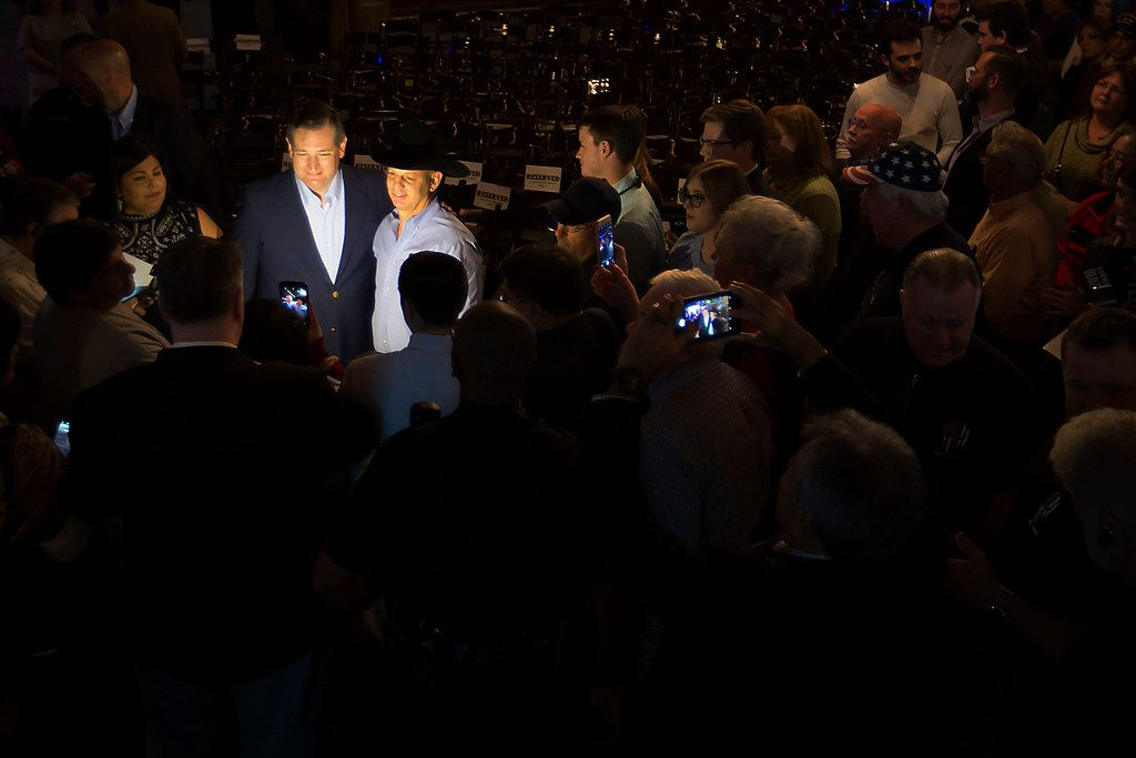 Sen. Ted Cruz poses for photos with supporters during a campaign event at River Ranch Stockyards on Wednesday, April 4, 2018, in Fort Worth, Texas.
