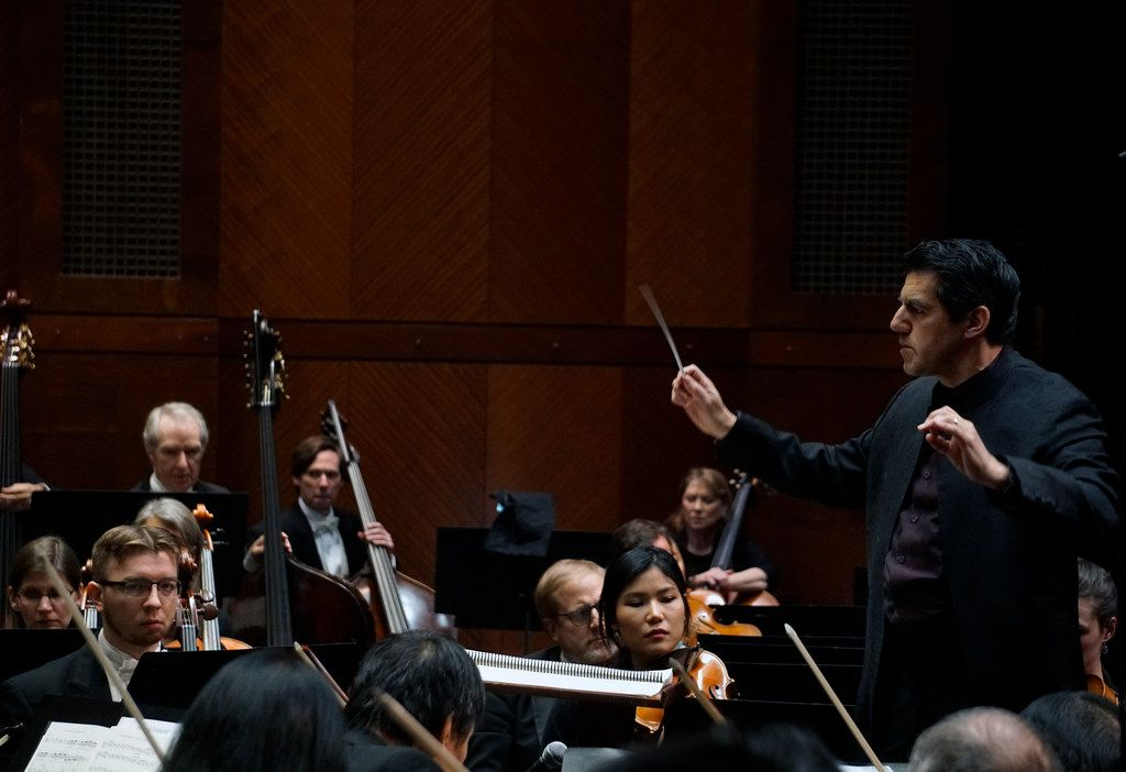 Miguel Harth-Bedoya conducts the Fort Worth Symphony Orchestra at Bass Performance Hall in Fort Worth, Texas on January 11, 2019.