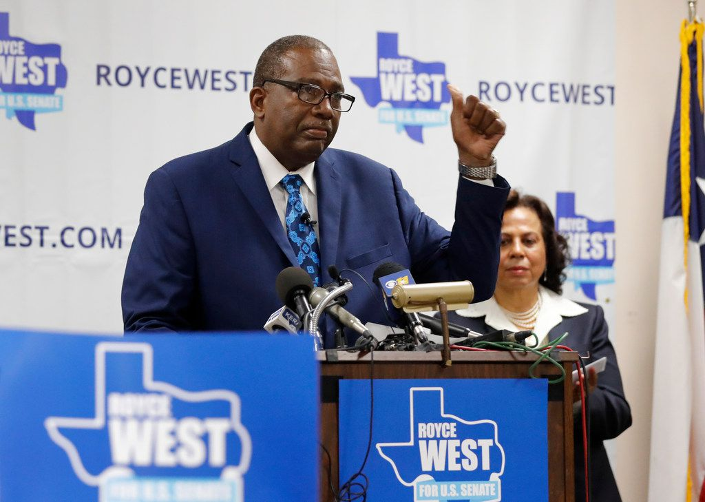 State Senator Royce West makes comments as he announces his bid to run for the U.S. Senate during a rally in Dallas, Monday, July 22, 2019. (AP Photo/Tony Gutierrez)