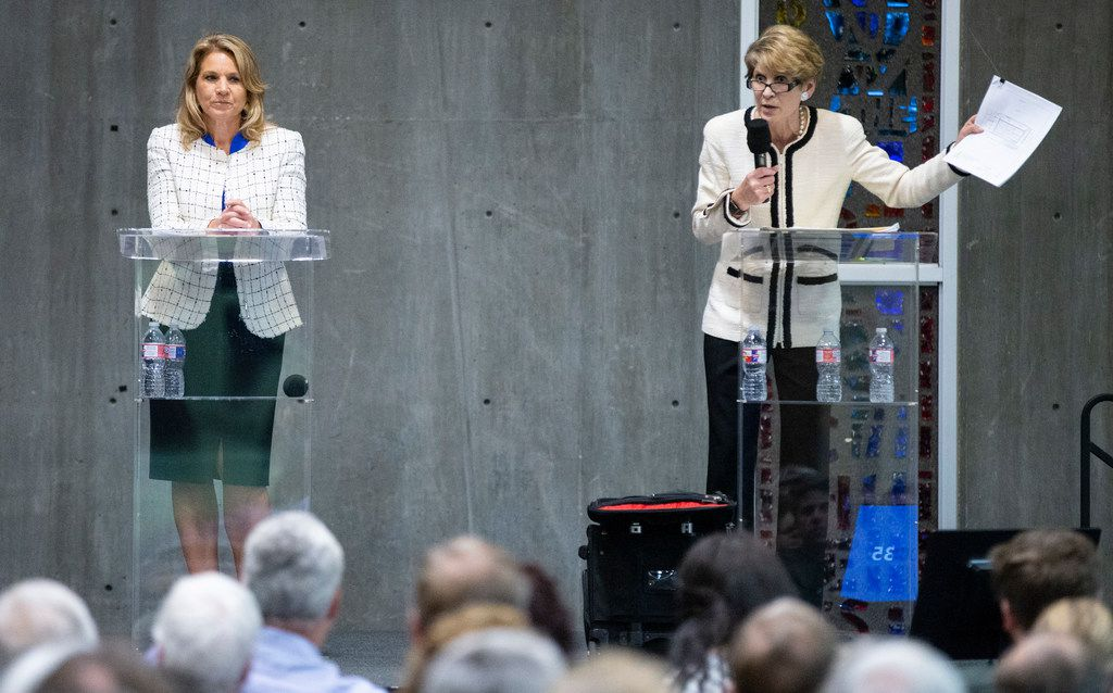City councilwoman Jennifer Staubach Gates, left, and Laura Miller, who were candidates for City Council District 13, participated in a debate at Jesuit College Preparatory School of Dallas, Monday, April 22, 2019.