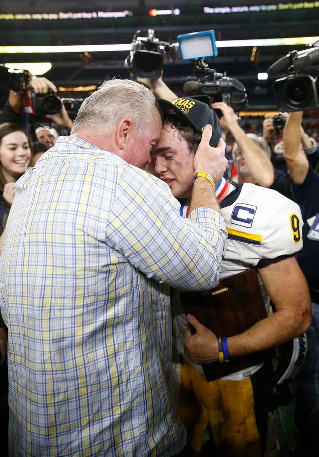 Highland Park's John Stephen Jones celebrates with his father Dallas Cowboys John Stephen Jones after defeating Manvel during the second half of play of the UIL Class 5A Division II state football championship at AT&T Stadium in Arlington, Texas on Friday, December 22, 2017. Highland Park defeated Manvel 53-49. (Vernon Bryant/The Dallas Morning News)