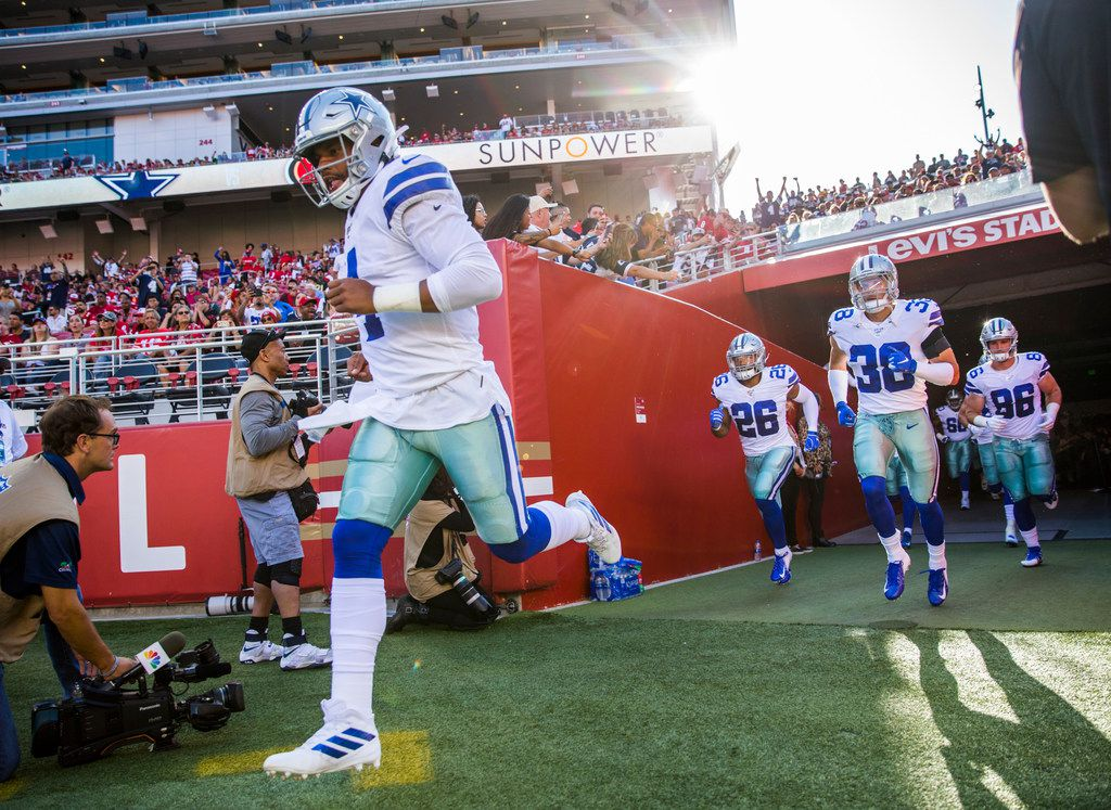 Dallas Cowboys quarterback Dak Prescott (4) runs out on the field before an NFL preseason game between the Dallas Cowboys and the San Francisco 49ers on Saturday, August 10, 2019 at Levi's Stadium in Santa Clara, California. (Ashley Landis/The Dallas Morning News)